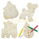 SET PIEZAS MADERA HAPPY CHRISTMAS 4 PCS EMPRESA REF Z1006 CIFRA